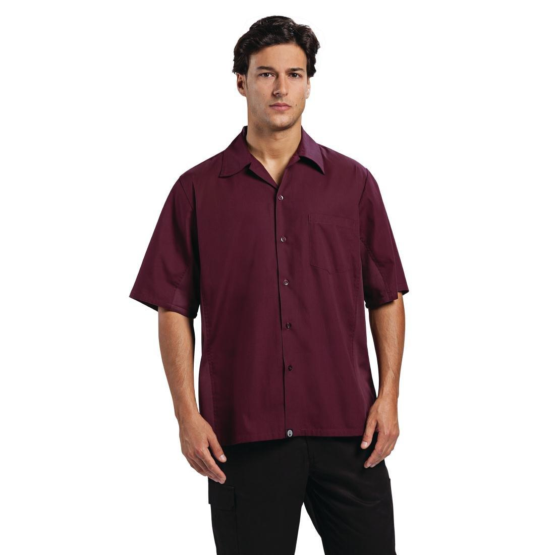 Camisa Chef works coll vent burdeos