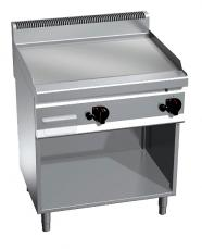 Fry Top a gas de acero rectificado plancha lisa 800x700